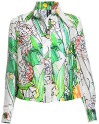 Jena.Theo - Seventies Crop Floral Silk Shirt - Lyst