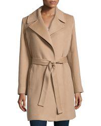 Fleurette - Cashmere Notched-Collar Wrap Coat - Lyst