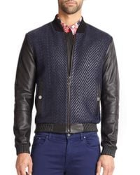 Versace Woven Leather Jacket - Lyst