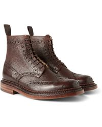 Grenson Fred Triple-Welt Pebble-Grain Leather Brogue Boots - Lyst