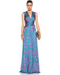 Issa Hazelle Silk Jersey Blend Printed Wrap Gown purple - Lyst