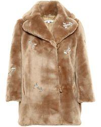 Carven Crystal Embellished Faux Fur Coat - Lyst