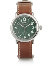Shinola Runwell Stainless Steel and Leather Watch - Lyst