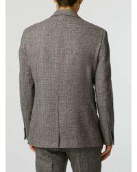 TOPMAN - Grey Textured Wool Blend Slim Fit Suit Jacket - Lyst