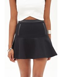 Forever 21 Fluted Faux Leather-Trimmed Skirt - Lyst