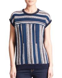 Tory Burch Mercerized Cotton Short Sleeve Sweater multicolor - Lyst