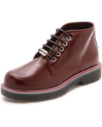 McQ by Alexander McQueen Martin Lace Up Derby Booties - Bordo - Lyst