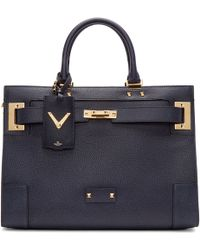 Valentino - Navy Leather Large Tote - Lyst