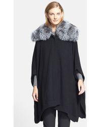 Pologeorgis Cashmere Cape With Detachable Genuine Fox Fur Collar - Lyst