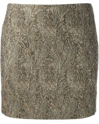 Saint Laurent Metallic Mini Skirt - Lyst