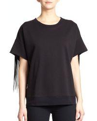 BLK DNM Short-Sleeve Fringe Sweatshirt - Lyst