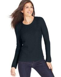 Jones New York Signature Petite Openknit Crewneck Sweater - Lyst