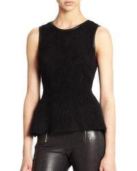 J Brand Grace Leather-trimmed Angora-blend Peplum Sweater - Lyst