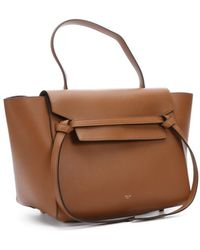 Celine Brown Leather 'Belt' Small Trapeze Tote - Lyst