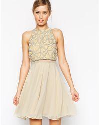 Asos Embellished Crop Top Skater Dress beige - Lyst