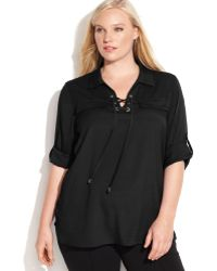 Calvin Klein Plus Size Tab-sleeve Lace-up Top - Lyst