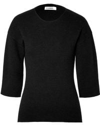 Jil Sander Cashmere Mohair Alpaca Cropped Sleeve Pullover - Lyst