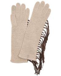 Portolano | Mushroom Rib Knit Cashmere Leather Fringe Itouch Gloves | Lyst