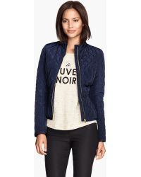 H&M Blue Quilted Jacket - Lyst