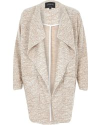River Island Beige Relaxed Cotton Jersey Jacket - Lyst