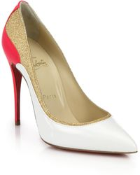Christian Louboutin Tucsick Glittered-Panel Colorblock Leather Pumps - Lyst