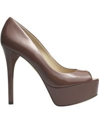 B Brian Atwood Peep Toe Pump In Nude Patent - Lyst