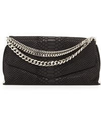 Milly Collins Pythonembossed Suede Clutch Bag - Lyst