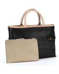Chloé Black Leather Buckle Accent Tote Bag - Lyst