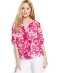 Calvin Klein Pleated Tie-Dye Blouse - Lyst