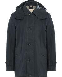 Burberry Brit - Trench Coat With Hood - Blue - Lyst