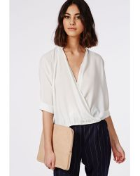 Missguided Wrap Front Dropped Hem Blouse White - Lyst