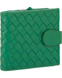 Barneys New York Woven Leather Snapfront Wallet - Lyst