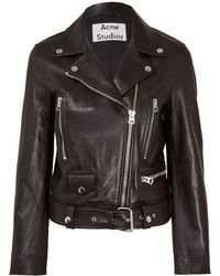 Acne Studios Black Mock Leather Biker Jacket - Lyst
