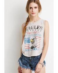 Forever 21 Eagles Graphic Muscle Tee gray - Lyst