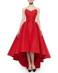 Zac Posen Strapless Cat-Ear-Bodice High-Low Gown red - Lyst