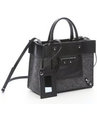 Balenciaga Grey Speckled Felt and Black Leather Top Handle Tote - Lyst
