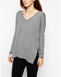 Asos V-Neck Sweater With Side Splits - Lyst