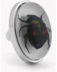 Tateossian - Lucky Chafer Beetle Pin In Resin On White Mother Of Pearl - Lyst