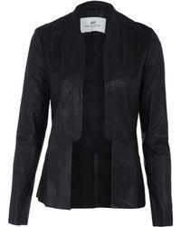 Day Birger Et Mikkelsen Black Collarless Cutout Leather Tux Jacket - Lyst
