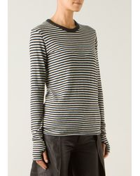 Enza Costa Light and Dark Grey Long Striped Top - Lyst