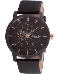 Kenneth Cole Mens Brown Ion-Plated Round Watch With Rose Goldtone Accents - Lyst