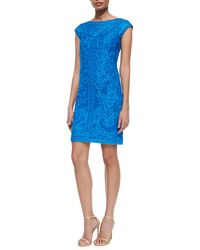 Sue Wong Cap-Sleeve Embroidered Cocktail Dress - Lyst