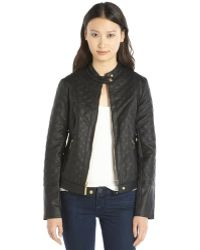 Kensie Black Quilted Faux Leather Long Sleeve Jacket - Lyst
