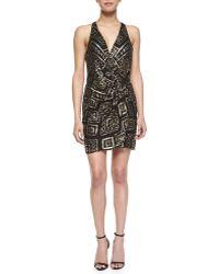 Parker Reina Geometric Beaded Wrap Dress Black Xs - Lyst
