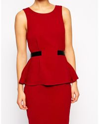 Asos Pencil Dress With Pleated Peplum - Lyst