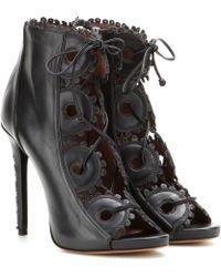 Tabitha Simmons Dakota Peep-Toe Leather Ankle Boots black - Lyst