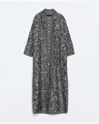 Zara Long Embroidered Jacket - Lyst