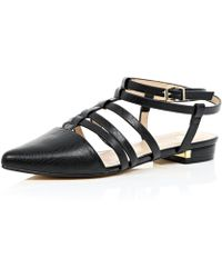 River Island Black Caged Strappy Pointed Shoes black - Lyst