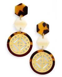 Tory Burch Drop Earrings - Cabernet/ Tortoise/ Shiny Gold red - Lyst