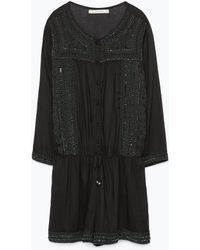 Zara Jewelled Short Jumpsuit - Lyst